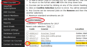 Screenshot showing how to enrol in a course